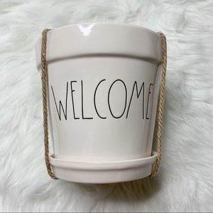 Rae Dunn WELCOME plant pot accent vase